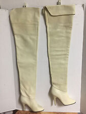 NEW-WOMENS VINTAGE WILD PAIR BEIGE THIGH HIGH LEATHER FETISH CROTCH BOOTS-SZ 6 B