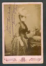 ADELINA PATTI - NICOLINI SPANISH OPERA STAR VINTAGE PHOTO CABINET SIGNED 1889