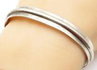 MWR 925 Sterling Silver - Vintage Minimalist Linear Detail Cuff Bracelet - B4973