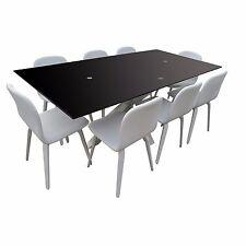 Modern Black Tempered Glass Top Rectangular Dining Table Steel Base Ex-Display