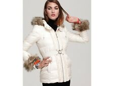 Juicy Couture Women's Puffer Jacket with Faux-Fur-Trim Down-filled Small -Taupe