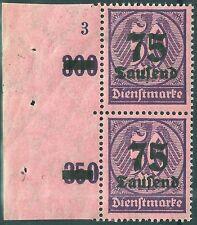 """Dienst MiNr. 91 im Paar vom Seitenrand mit Plattennummer """"3"""" postfrisch"""