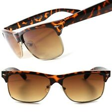 Classic Tortoise Old Fashion Vintage Rectangle 80s Style Mens Womens Sunglasses