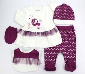 Neugeborenen Set 5 tlg., Mädchen Erstlingsset 0-3 Monate, 100% Baumwolle