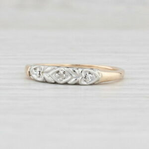 Vintage Diamond Wedding Band 14k Gold Stackable Ring Hearts