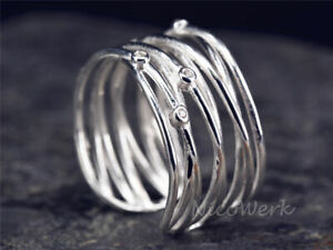 Silberring Mehrreihig Breit Gewebt Wickel Mit stein Ring Silber 925 Verstellbar
