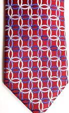 "Countess Mara Men's Silk Tie 59"" X 3.25"" Red/Silver/Blue Geo w/ Shaded Stripes"