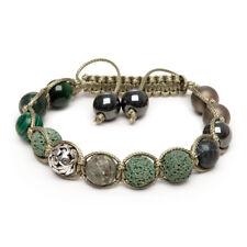 Shamballa Bracelet Russian Serpentine Green Tigers Eye Indian Agate Malachite UK