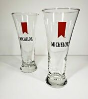 Michelob Pilsner Clear Beer Glass Glasses x2 VINTAGE Red Ribbon Man Cave EUC