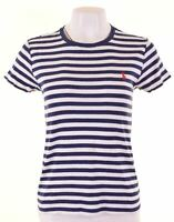 RALPH LAUREN SPORT Womens T-Shirt Top Size 14 Large Blue Striped Cotton  IT14