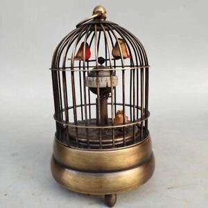 Mechanical clock horologe- Exquisite Brass birdcage shape three bird LP007