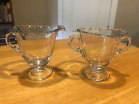 """Vintage Clear Glass Creamer & Sugar Pair – 4"""" x 3.5"""" – Clean"""