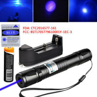 Blue Laser Pointer Pen 405nm 1mW Visible Beam Light+Battery+Universal US Charger