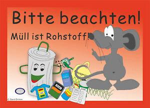 Aufkleber Mülltonne,Mülltrennung,Motiv Maus, Recycling, stark haftend