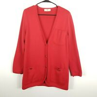 Valentino Miss V Wool Cotton Cardigan Button Down Jacket Sweater Women Red M