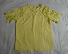 Yellow Lace blouse top zipper back inside