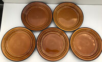 """Set (5) Home Trends Country Crock Amber 11"""" Dinner Plates"""
