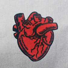 handmade Anatomical Tell Tale Heart Red Horror Goth Embroidered Sew Iron  Patch