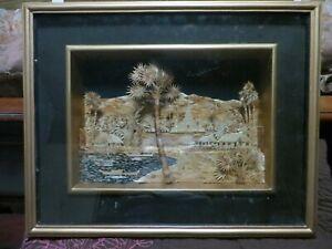"""Vintage Framed 3D Wood Art City Landscape 19"""" x 15"""" Bagan Myanmar"""