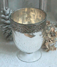 Großes Windlicht,Pokal,Bauernsilber, Glas silber, Brocante,Franske,Shabby, 17 cm