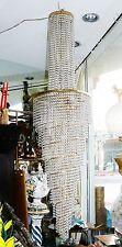 """Vtg 1950 Italian Spiral 10 Tier 16 Light Lamp Chandelier 6000 Crystals 84"""" Italy"""