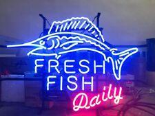 "20""x16""Fresh Fish Daily Neon Sign Light Store Restaurant Handcraft Visual Art"
