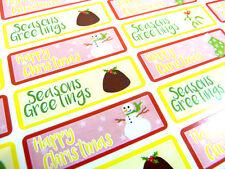 Merry Happy Christmas Adhesivos Etiquetas para Tarjetas Sobres Festivo Craft