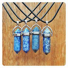 Reiki Chakra Fashion Necklace Hexagonal Point Pendant Mottled Lapis Lazuli