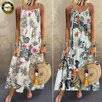 Summer Womens Vintage Boho Sleeveless Cotton Linen Casual Maxi Dress Plus M-5XL