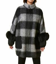 MARINA RINALDI Women's Black/Grey Nepente Plaid Coat $1040 NWT