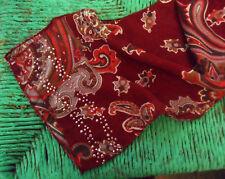 Vintage Long Sheer Crepe & Sequins SCARF Paisley Motifs Burgundy Red Lilac Brown
