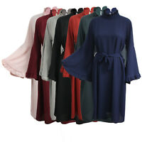 Women Ladies Summer Polo Neck Long Bell Sleeve Belted Shirt Dress Top UK 8-14