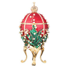 Faberge Egg Trinket Box / Music Box Russian Emperor's Crown & Flowers 6.3'' red