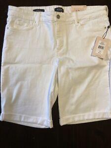 New NYDJ Women's Roll Cuff Shorts 14P Briella White $69