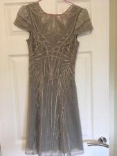 KAREN MILLEN 1920s style Gatsby champagne lace dress Size 1 UK 8  RARE