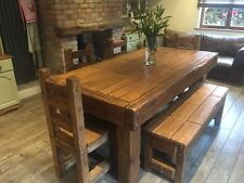 Rustic oak dining table Set