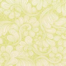 """Quilt Back Chartreuse Drawn 108"""" Wide Cotton Fabric Green on White SBY Kaufman"""
