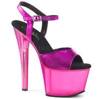 Pleaser SKY-309MT Women's Fuchsia Metallic PU Heels Platform Ankle Strap Sandals
