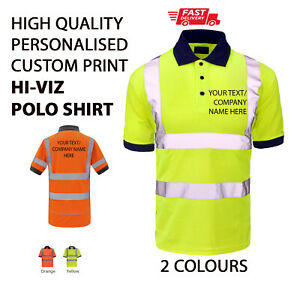 Personalised Hi-Viz/Vis High Visibility POLO SHIRT Safety Work Wear Printed TEXT