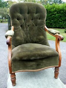 Extremely Comfortable 1950's Elm Framed Velvet Covered Button Back Arm Chair