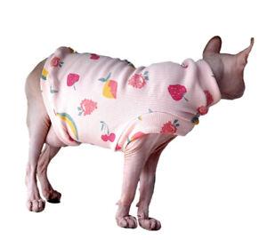 Hairless Cat T-Shirt Vest Sleeveless Pink Fruit Print Cotton Sphynx Pet Clothes