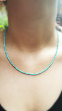 Afghan Natural Turquoise Necklace Tiny Seed Beads Handmade Minimalist Jewelry