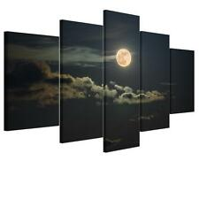 Large Moon Night Unframed HD Abstract Canvas Print Wall Art Picture Split Poster