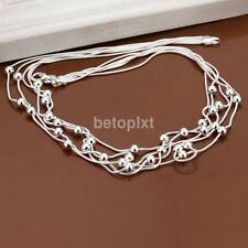Modern Fashion Women Lady Elegant Beads Chain Necklace Jewelry Silver Plated FA