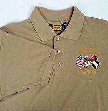 Marine Security Guard Detachment Amman Jordan Polo Shirt Size Small Tan EUC