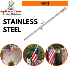 Stainless Steel Flag Pole Kit Garden Yard Truck Outdoor Us Flagpole Holder 6Ft
