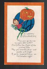 Mint Postcard Happy HalloweenFairy with Jack O Lantern Poem
