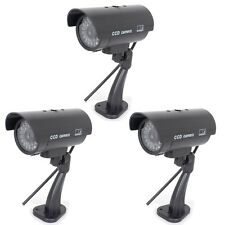 3Pieces Bullet Dummy Home CCTV Security With Fake Flashing Light  LEDs Camera