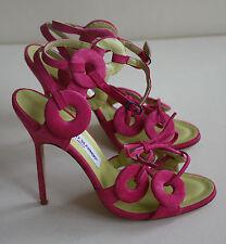 Manolo Blahnik dos Porc Terciopelo Rosa Fuxia Zapatos Tacones Talla EUR 37 UK 4 US7