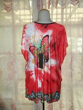 Chinese Butterfly Tunic/Short Dress, Red/Multi-Color, NWT, One Size Fits M - XL